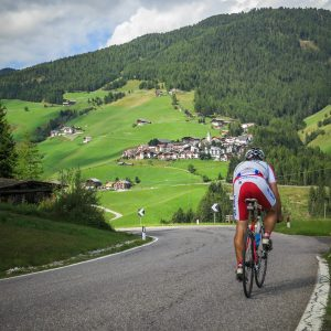 First descent with the town of Antermoia in the background