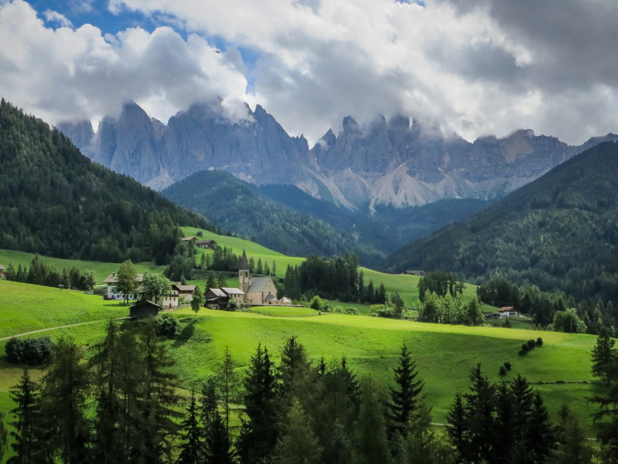 The Santa Maddalena Church in the Funes valley with the Odle Dolomites group in the background