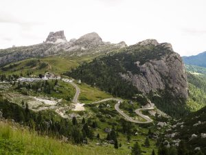 The last Passo Falzarego hairpins as seen from Passo Valparola