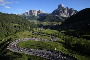 Passo Campolongo during the start of the Maratona dles Dolomites