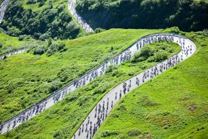 Passo Pordoi hairpins full of cyclists during the Maratona dles Dolomites