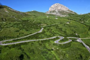 Another view of the Pordoi during the Maratona dles Dolomites