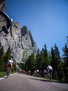 Riding the Passo Sella during Sellaronda Bikeday