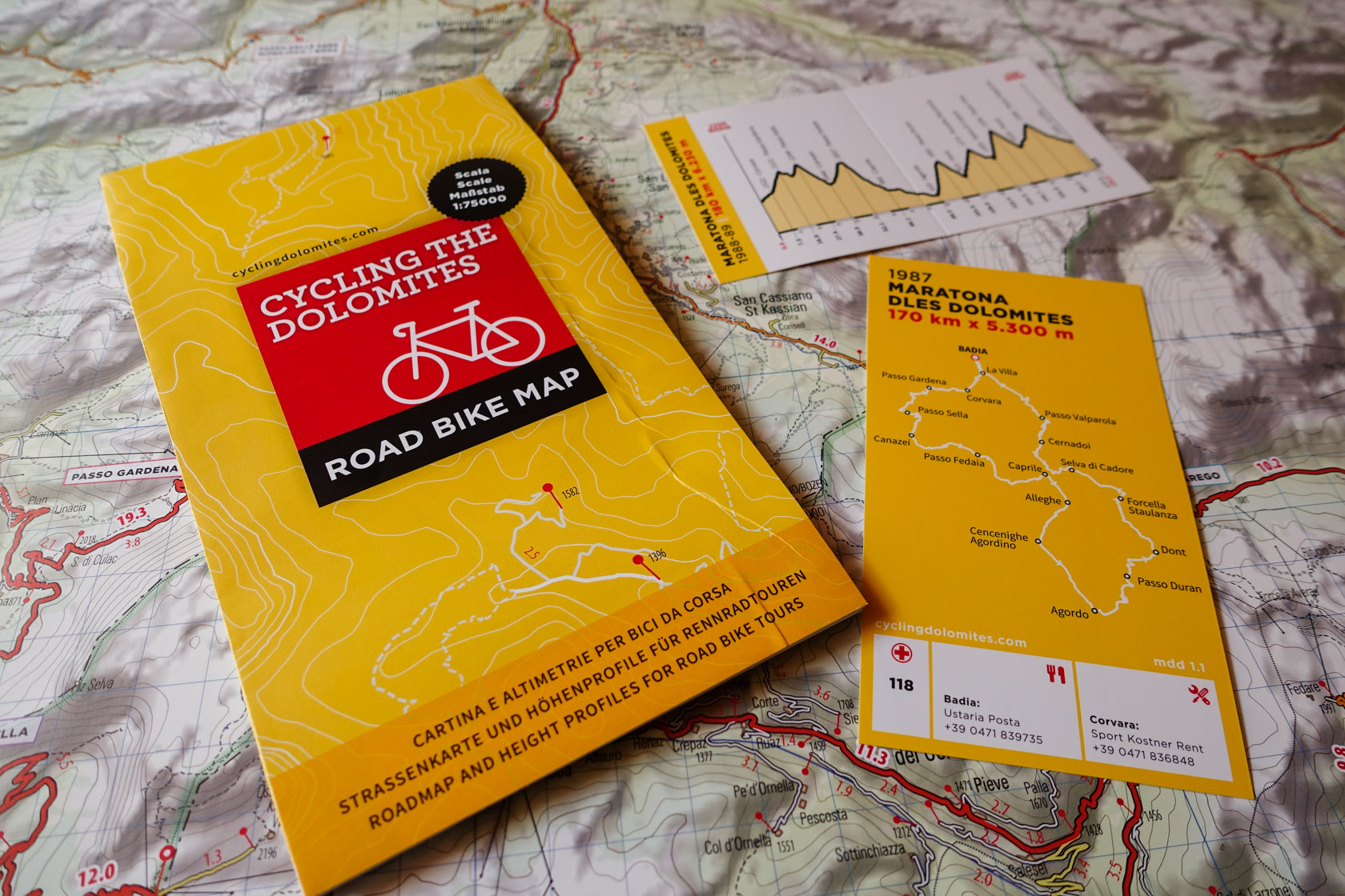 Dolomites Cycling map for roadbike